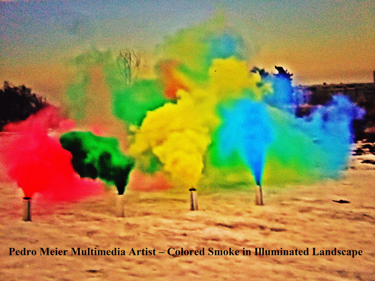 Pedro Meier – Colored Smoke in illuminated Landscape 2017 – Land art, minimal art, conceptual art, Earth art, spirituality – Member VISARTE, IAA AIAP UNESCO Artforum – Photo © Pedro Meier / ProLitteris Multimedia Artist Niederbipp, Switzerland – Bangkok