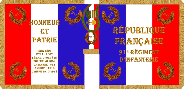 Reconstitution du drapeau du 91e R.I.