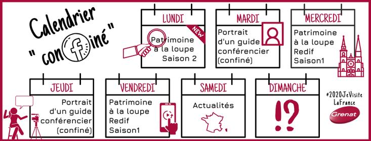"""Le calendrier """"confiné"""" des Guides de l'Association Grenat"""