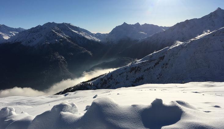 Rotkogel, rote Abfahrt von 2.666m, am 29.11.2016 um 09:25
