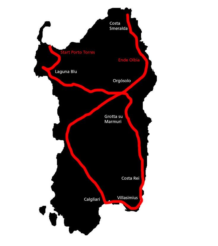 Unsere Route durch Sardinien