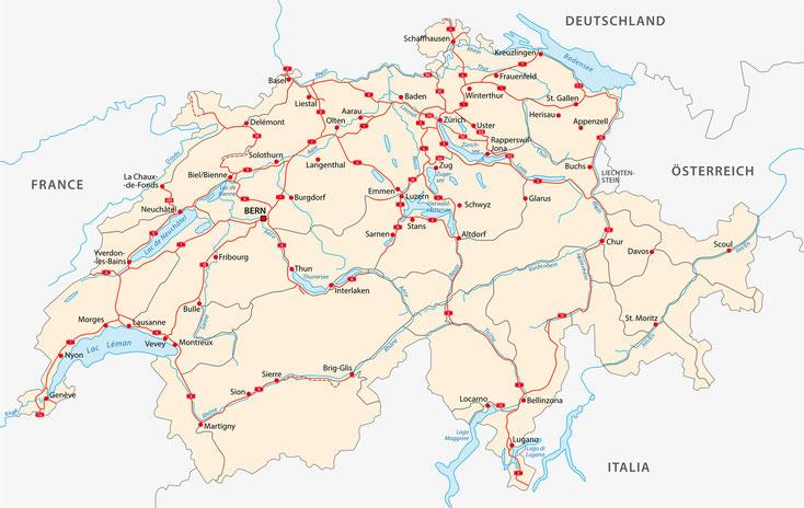 Straßenkarte Schweiz; Detektei Basel, Detektiv Bern, Privatdetektiv St. Gallen, Privatdetektei Genf