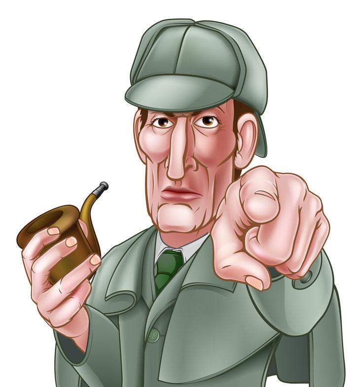 Sherlock Holmes Cartoon; Wirtschaftsdetektei Zürich, Wirtschaftsdetektiv Schweiz, Detektei