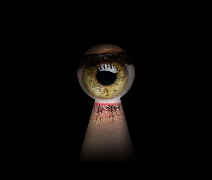 Auge durch Türspion; Privatdetektiv Zürich, Detektei Zürich, Detektiv Schweiz, Wirtschaftsdetektei