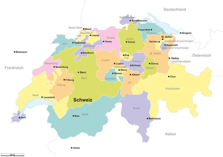 Kantone Schweiz; Detektei Schweiz, Detektiv Schweiz, Privatdetektiv Schweiz