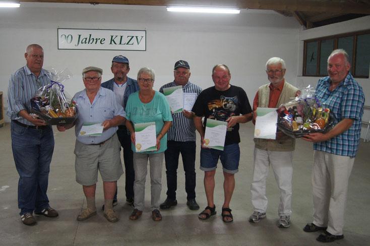 Mitgliederehrung beim Grillfest 2017 für langjährige Vereinszugehörigkeit und Verdienste um den KLZV