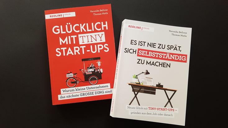 """""""Glücklich mit Tiny Start-ups"""", Bellone/Matla, Redline Verlag 2019 & """"Es ist nie zu spät, sich selbstständig zu machen"""", Bellone/Matla, Redline Verlag 2020 © Bellone Franchise Consulting GmbH"""