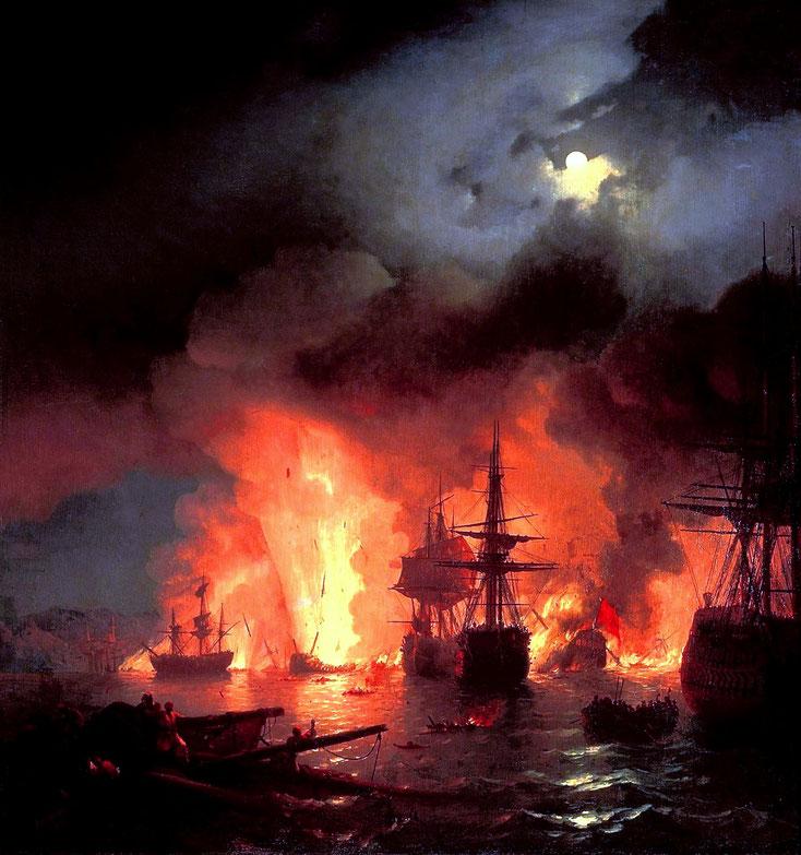 La Bateille de Cesme, Ivan Aïvazovsky