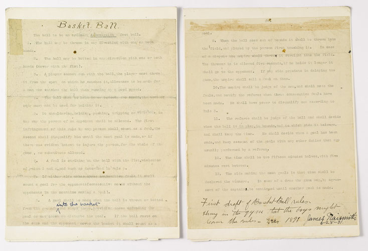 le document originel des 13 règles du basket signé par James Naismith