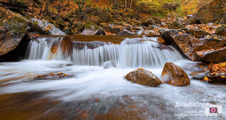 Durch Langzeitbelichtungen entstehen Fließspuren im Wasser. Ein schöne Ergänzung zum herbstlichen Laub.