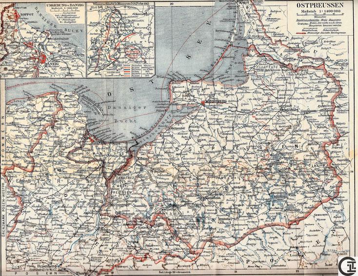 Ostpreussen mit Memelgebiet und angrenzendem Westpreußen und Freistaat Danzig um 1931
