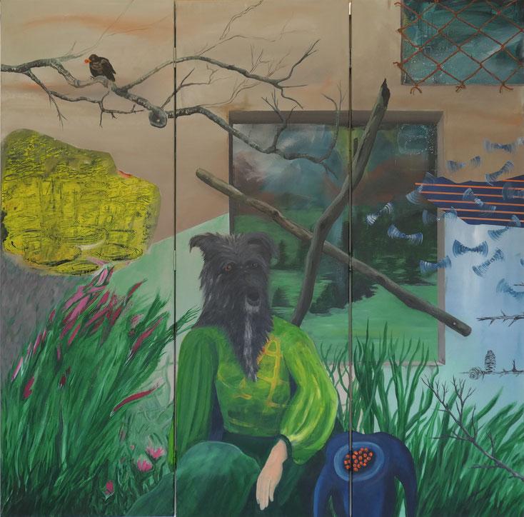 Die Gärtnerin / Acryl auf Leinwand / ca. 150 x 150 cm (dreiteilig)