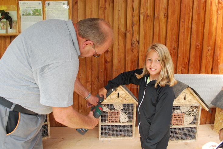 Endmontage am Insektenhotel - die Dachpappe wird befestigt.   Foto: Susanne Lamprecht