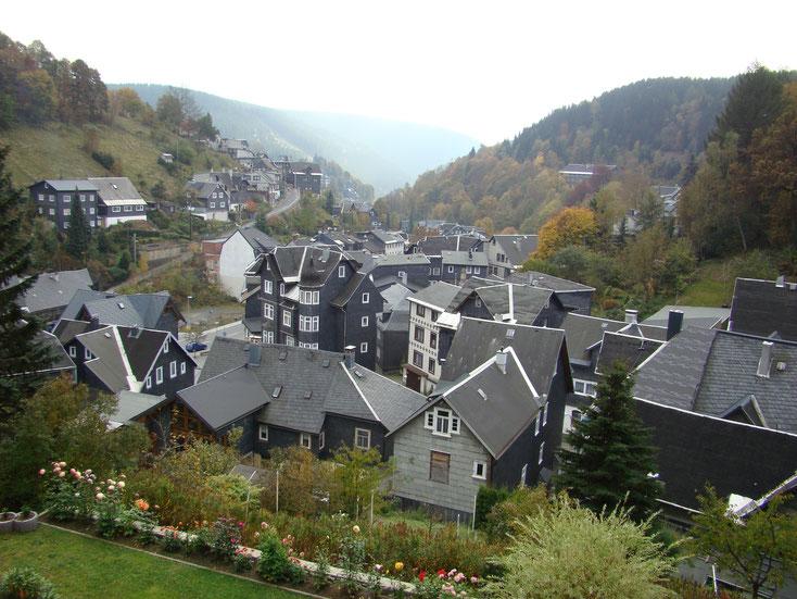 Blick über Lauscha - im Tal der Ort mit seinen Schieferhäusern