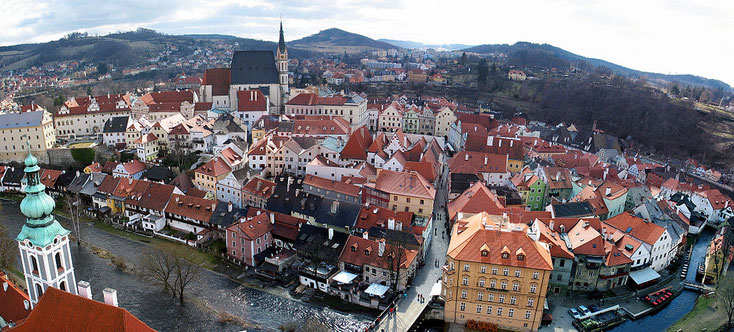 Die Altstadt von Krummau vom Schloss aus gesehen