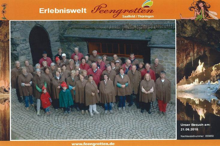 Unser Gruppenfoto - vor dem Einstieg in das ehemalige Alaunschieferbergwerk bei Saalfeld.