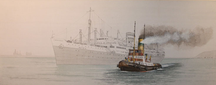 """Sir William Hoy"" und die ""Patria"" acryl auf Leinwand 40 x 100 cm"