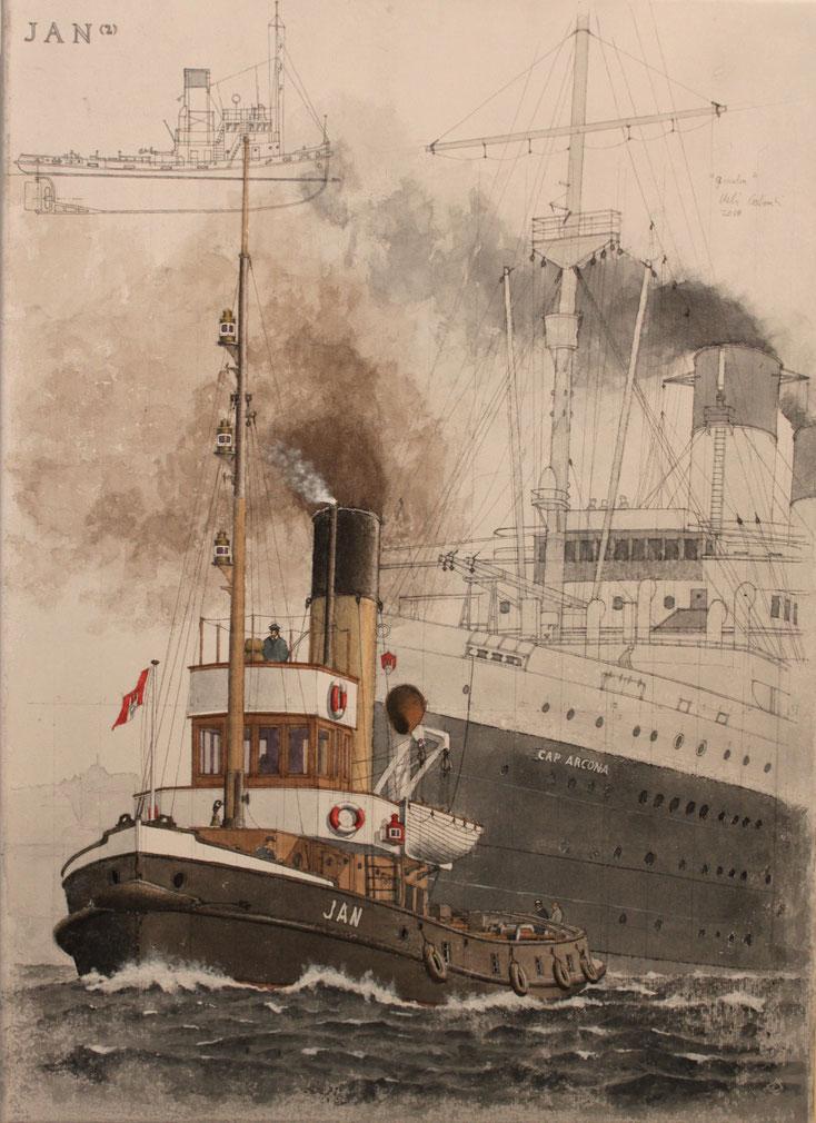 """""""Jan"""" und """"Cap Arcona"""" im Hamburger Hafen  acryl auf Leinwand  36 x 50 cm"""