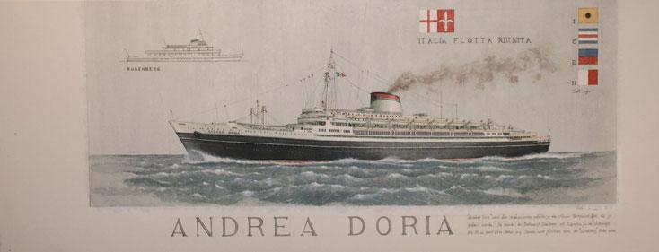 """Der Italia Liner """"Andrea Doria"""" und die """"Bubenberg""""  acryl auf Leinwand  35 x 90 cm"""