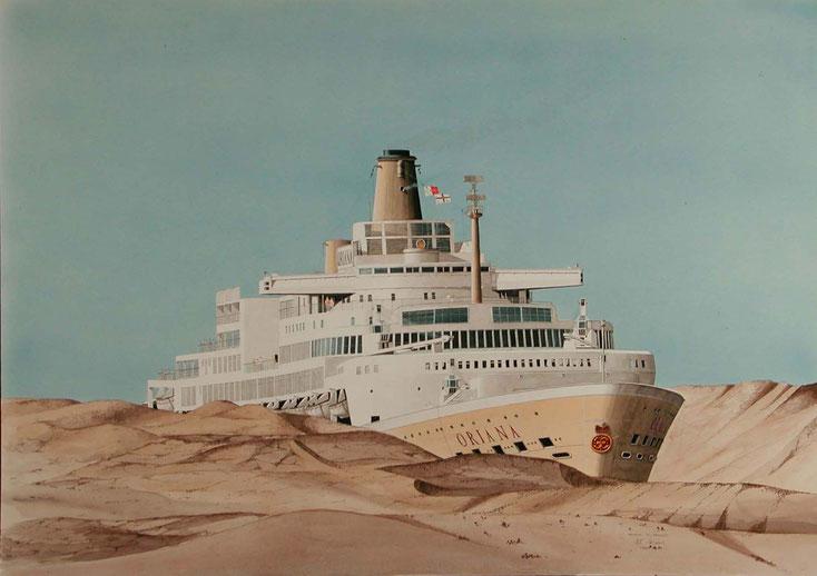 Oriana in transit   acryl auf Leinwand  90 x 60 cm