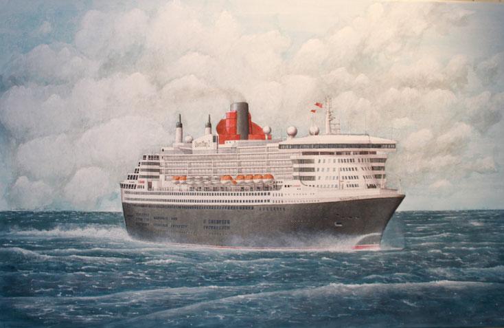 """""""Queen Mary 2"""", besser bekannt unter """"QM 2"""" acryl auf Leinwand  50 x 80 cm"""