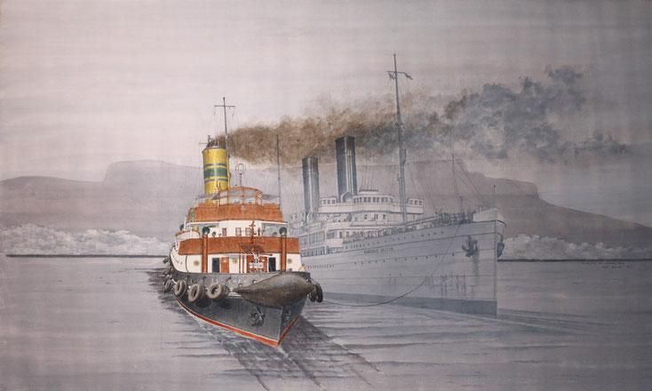 """""""Smokey Sue"""" und """"Armadale Castle"""" vor Kapstadt acryl auf Leinwand 60 x 100 cm"""