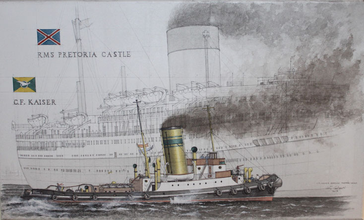 """C. F. Kaiser"" assistiert ""Pretoria Castle""     acryl auf Leinwand    30 x 50 cm"