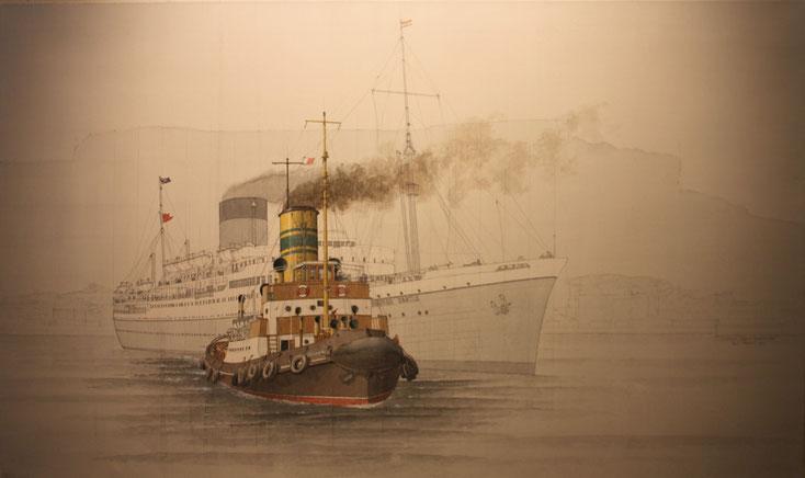"""""""John X. Merriman"""" und """"Edinburgh Castle"""" in Kapstadt acryl auf Leinwand  100 x 60 cm"""