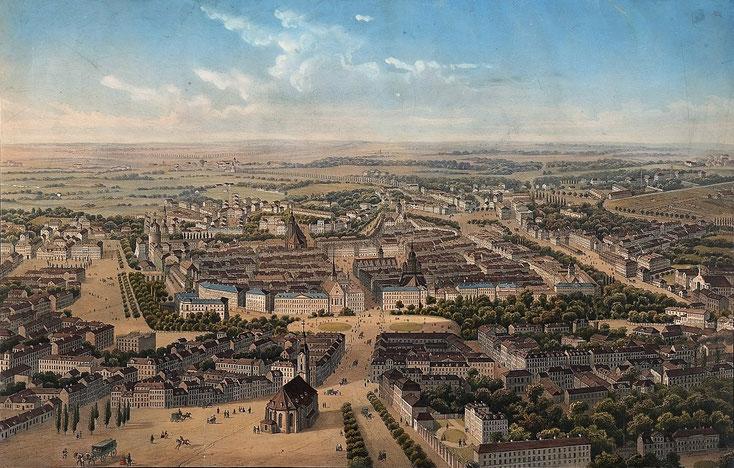 Leipzig aus der Vogelschau 1850 Quelle: Wikipedia