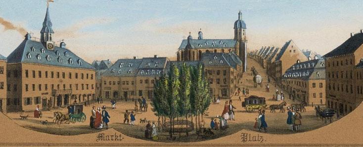 Eine Postkutsche auf dem Weg in die Buchholzer Gasse 1850