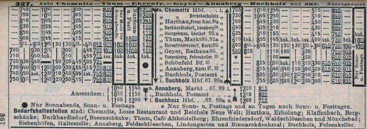Der erste Sommerfahrplan der Linie 210 im Jahre 1913