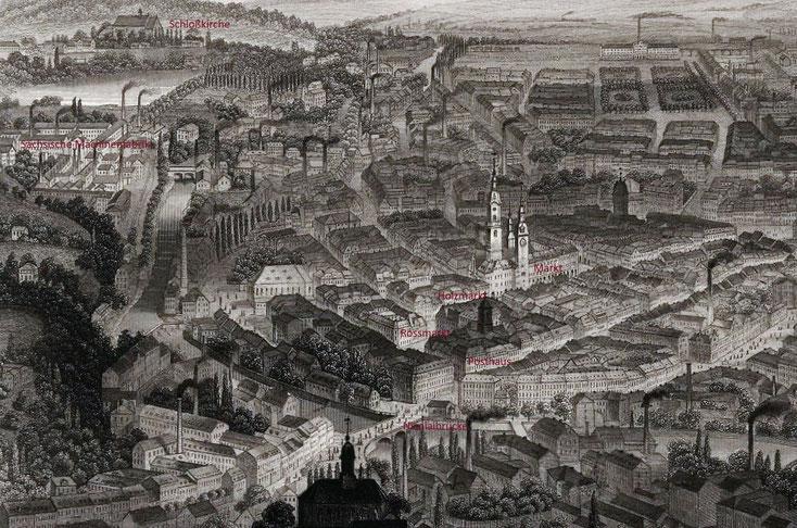 Chemnitz aus der Vogelperspektive von 1874
