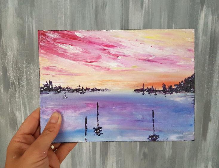 mini-tableau-abstrait-violet-orange-art-moderne-paysage-ocean-royan-artiste-peintre-audrey-chal
