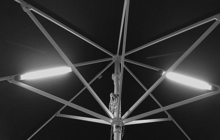 Kabellose Beleuchtung LED Lumination für Sonnenschirme, Windschutz, Markisen, Freizeit und Gewerbe