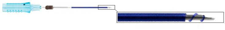 Aufbau des Omnifill-Volumensystems. Durch die maximal enge Wicklung ist es gelungen, auf 3cm Nadellänge über einen Meter PDO-Faden aufzuwickeln - entsprechend ausgeprägt ist die Volumenwirkung!