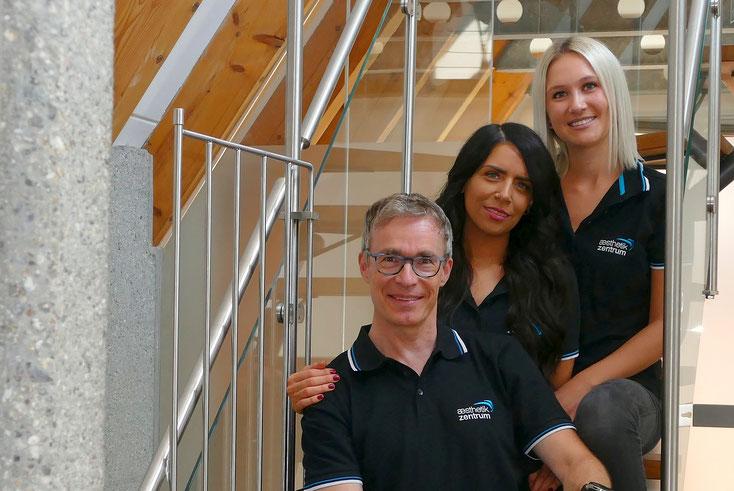 Dr. Lüthy mit den Ästhetik-Fachkräften Mehtap Mehel und Sarah Geiger
