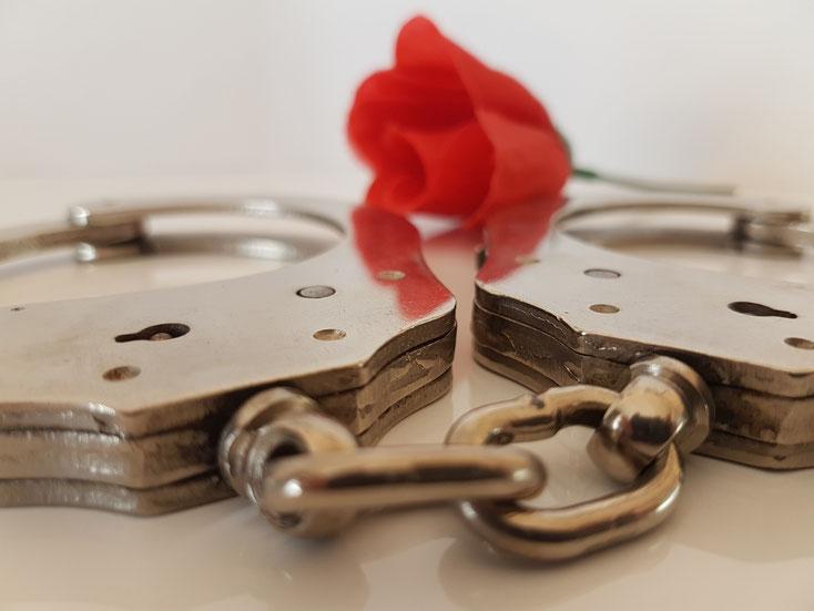 Handschellen mit Rose; Privatdetektiv Karlsruhe, Privatdetektei Landau in der Pfalz, Detektiv Worms