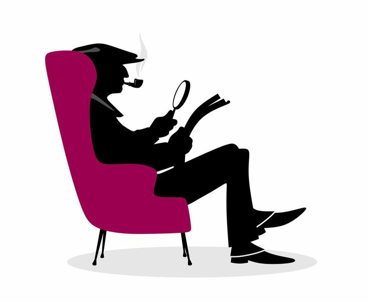 Sherlock Holmes in chair; Detektei Weinheim, Detektiv Speyer, Privatdetektiv Mannheim