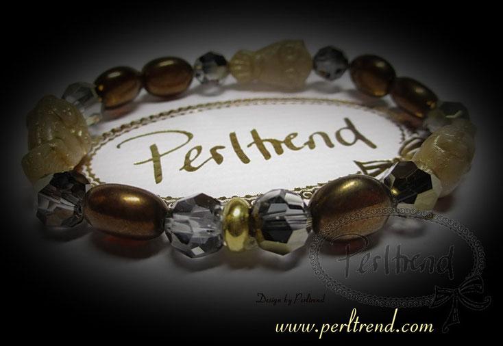 www.perltrend.com Armschmuck Kuofer Gold Beige Crystal Dorado Eulen Owl Owls copper Armband Bracelet Schmuck Jewellery Jewelry Swarovskl Perltrend Luzern Schweiz Online Shop
