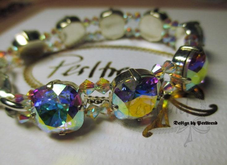 www.perltrend.com Armschmuck Aurora Crystal Highlights aurora borealis Kristall Swarovski regenbogen multicolor Schmuck Armkette Bracelet Luzern Schweiz Perltrend Onlineshop