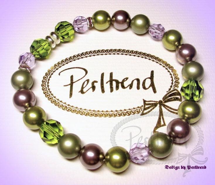 www.perltrend.com Armschmuck Bracelet Lavendula Pearls Pearl Crystal Swarovski grün violett lavendel lila Schmuck Perltrend Bracelet Armband Armkette Jewellery Perltrend Schweiz Luzern Onlineshop