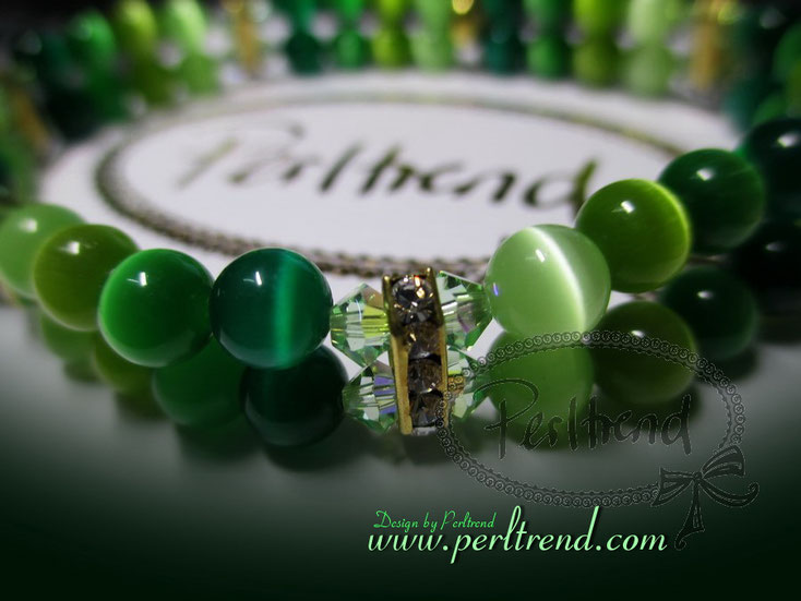 Perltrend Luzern Schweiz Onlineshop Schmuck Jewellery Jewelry www.perltrend.com  Bracelet Armband Armschmuck Grün Cateye Katzenaugen Glasperlen gold Swarovski Crystals green Catygreenfunelle