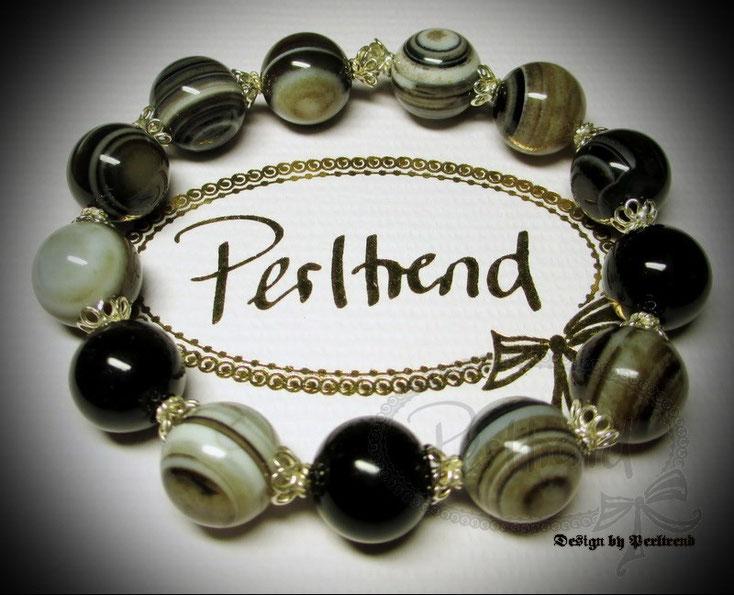 www.perltrend.com Armschmuck Bracelet Armband Sweet Sardonyx Silber Edelstein schwarz braun grau weiss Schmuck Perltrend Schweiz Luzern Onlineshop Jewellery Gemstone