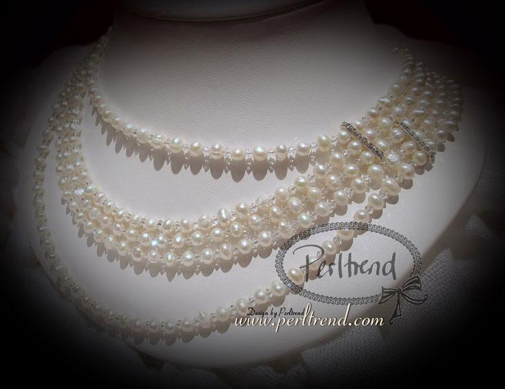 www.perltrend.com Halskette Maelle perlweiss Süsswasserperlen Swarovski Crystals Design by Perltrend