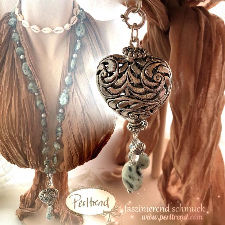 www.perltrend.com Halsschmuck türkis grün grau Kiwi Stones Edelsteine Silber Swarovski Crystals Gemstones Perltrend Necklace Luzern Schweiz Onlineshop