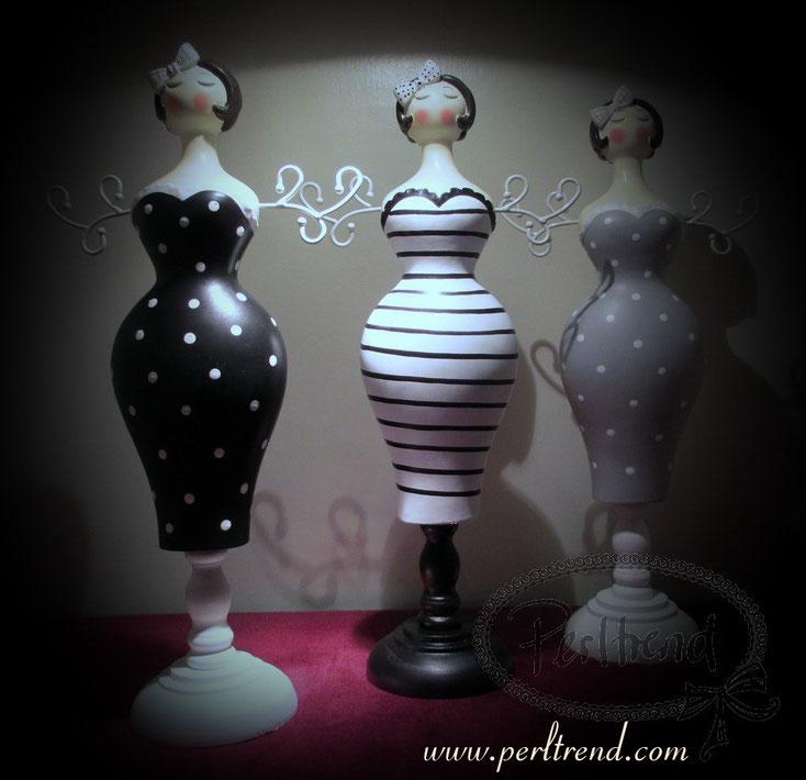 www.perltrend.com Schmuckaufbewahrung Torso 50's Girls Pinup Polka Dots