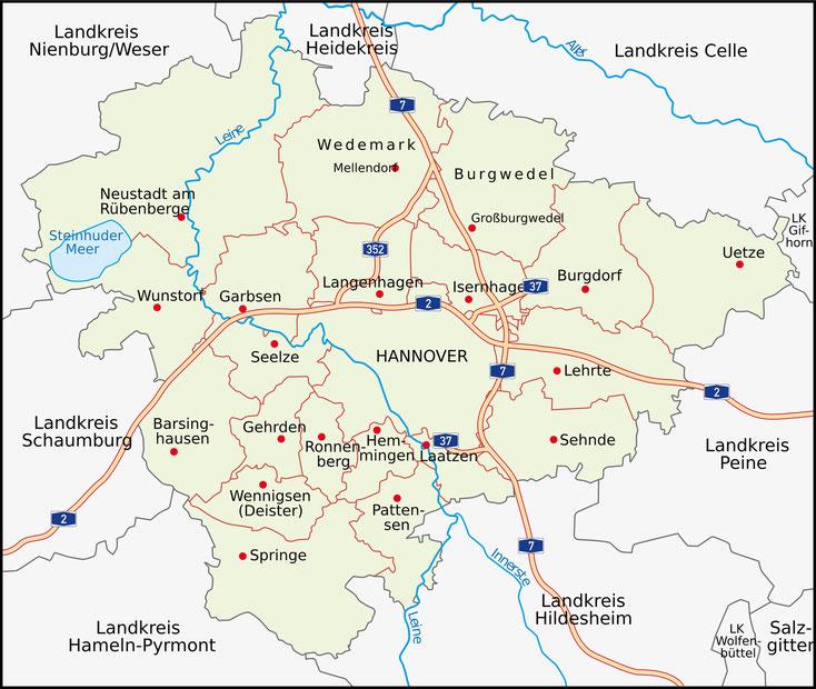 Karte Region Hannover; Detektei Niedersachsen, Detektiv Niedersachsen, Privatdetektiv