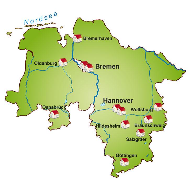 Großstädte Niedersachsen und Bremen; Detektei Niedersachsen, Detektiv Niedersachsen