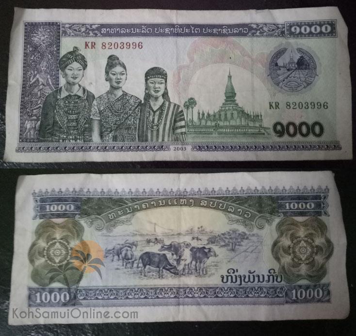 Kip währung geld laos