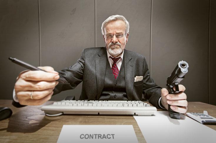 Auch im Geschäftsbereich werden Druckmittel gerne genutzt, um vorteilhafte Vereinbarungen zu erpressen.